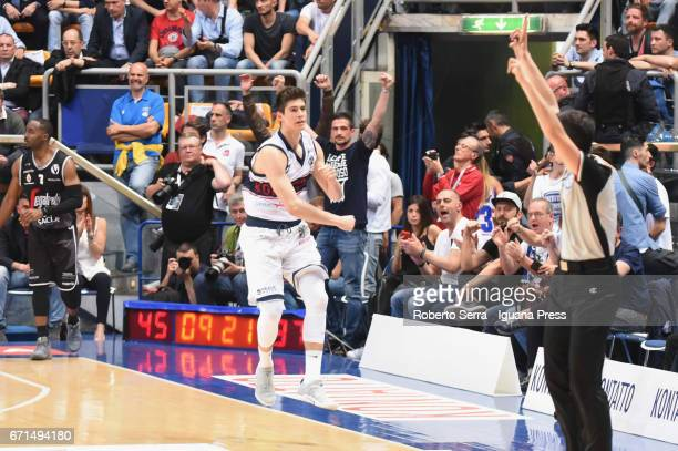 Leonardo Candi of Kontatto celebrates during the LegaBasket LNP of serie A2 match between Fortitudo Kontatto Bologna and Virtus Segafredo Bologna at...