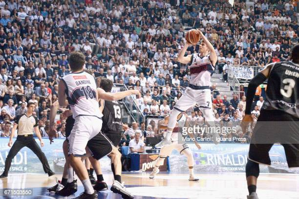 Leonardo Candi of Kontatto competes with Klaudio Ndoja and Michael Umeh of Segafredo during the LegaBasket LNP of serie A2 match between Fortitudo...