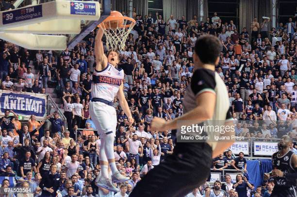 Leonardo Candi of Kontatto in action during the LegaBasket LNP of serie A2 match between Fortitudo Kontatto Bologna and Virtus Segafredo Bologna at...