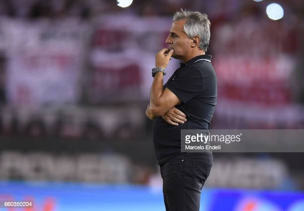 Leonardo Carol Madelon coach of Belgrano looks on during a match between River Plate and Belgrano as part of Torneo Primera Division 2016/17 at...