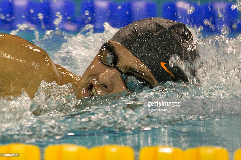 Leonardo Castilho Santos of Brazil competes in men's 800 meter free style final as part of the I ODESUR South American Youth Games at Piscina Ol'mpica Campo de Marte on September 22, 2013 in Lima, Peru.