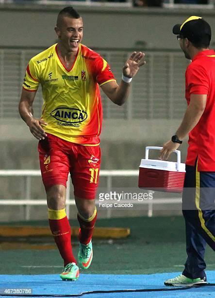 Leonardo Castro of Deportivo Pereira celebrates a scored goal against America de Cali during a match between Deportivo Pereira and America de Cali as...