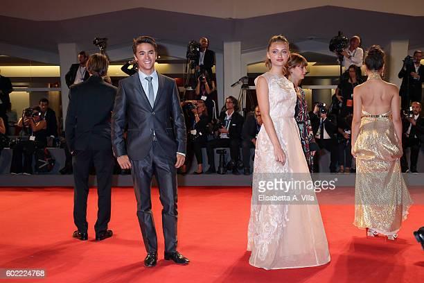 Leonardo Cecchi and Beatrice Vendramin attend the premiere of 'The Magnificent Seven' during the 73rd Venice Film Festival at Sala Grande on...