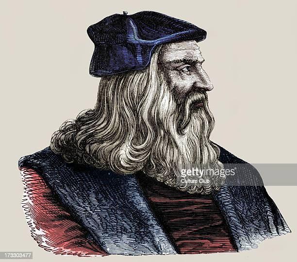 Leonardo da Vinci Italian Renaissance painter sculptor writer scientist architect and engineer Venetian engraving of 16th century14521519