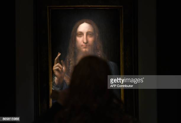 Leonardo da Vincis 'Salvator Mundi' is on display at Christie's New York November 3 2017 during a press preview for the PostWar Contemporary Art...
