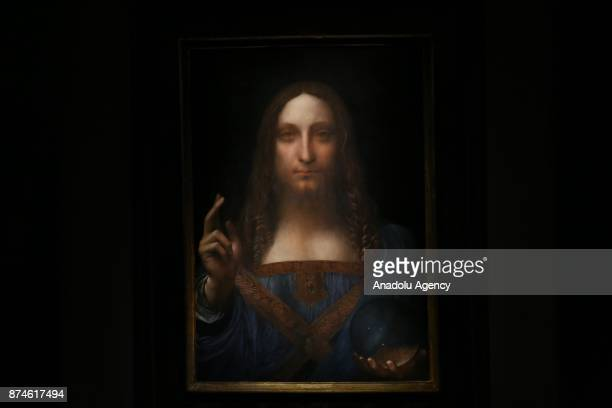 Leonardo da Vinci's Salvator Mundi painting is seen at the Christie's in New York during its final day of viewing in New York United States on...