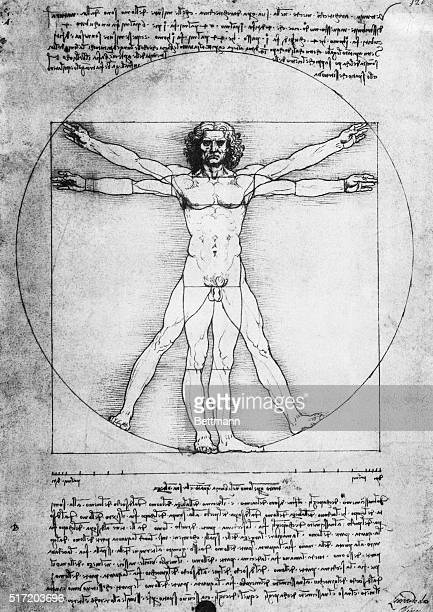 Leonardo Da Vinci's 'The Proportions of Man' is shown in this manuscript illustration