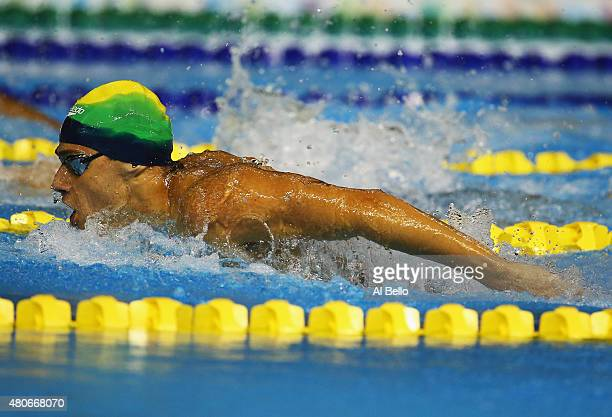 Leonardo De Deus of Brazil swims in the 200m Butterfly at the Pan Am Games on July 14 2015 in Toronto Canada