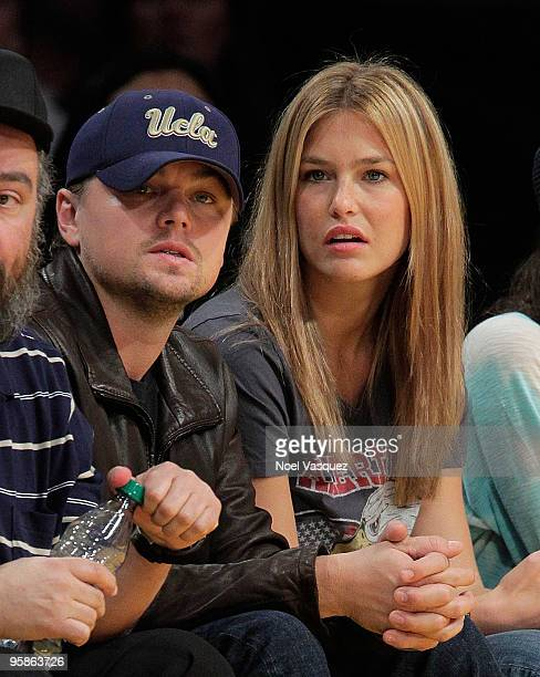 Leonardo DiCaprio and Bar Refaeli attend a game between the Orlando Magic and the Los Angeles Lakers at Staples Center on January on January 18 2010...