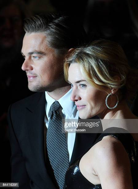 Leonardo DiCaprio and Kate Winslet arrive for the European Premiere of 'Revolutionary Road' at the Odeon Leicester Square on January 18 2009 in...