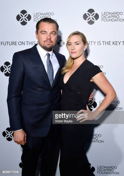 Leonardo DiCaprio and Kate Winslet attend the cocktail reception of the Leonardo DiCaprio Foundation 4th Annual SaintTropez Gala at Domaine Bertaud...