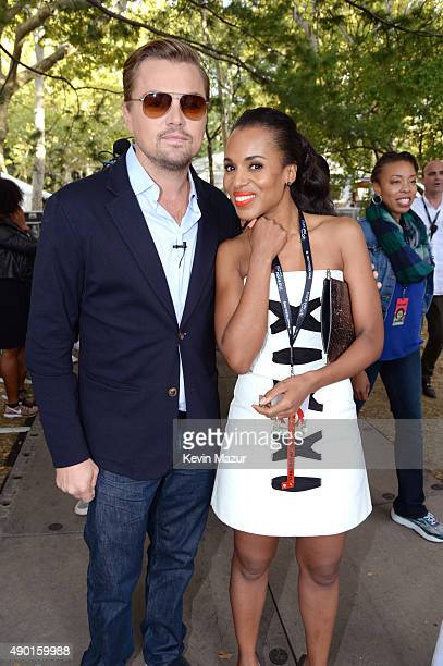 Leonardo DiCaprio and Kerry Washington attend 2015 Global Citizen Festival to end extreme poverty by 2030 in Central Park on September 26 2015 in New...