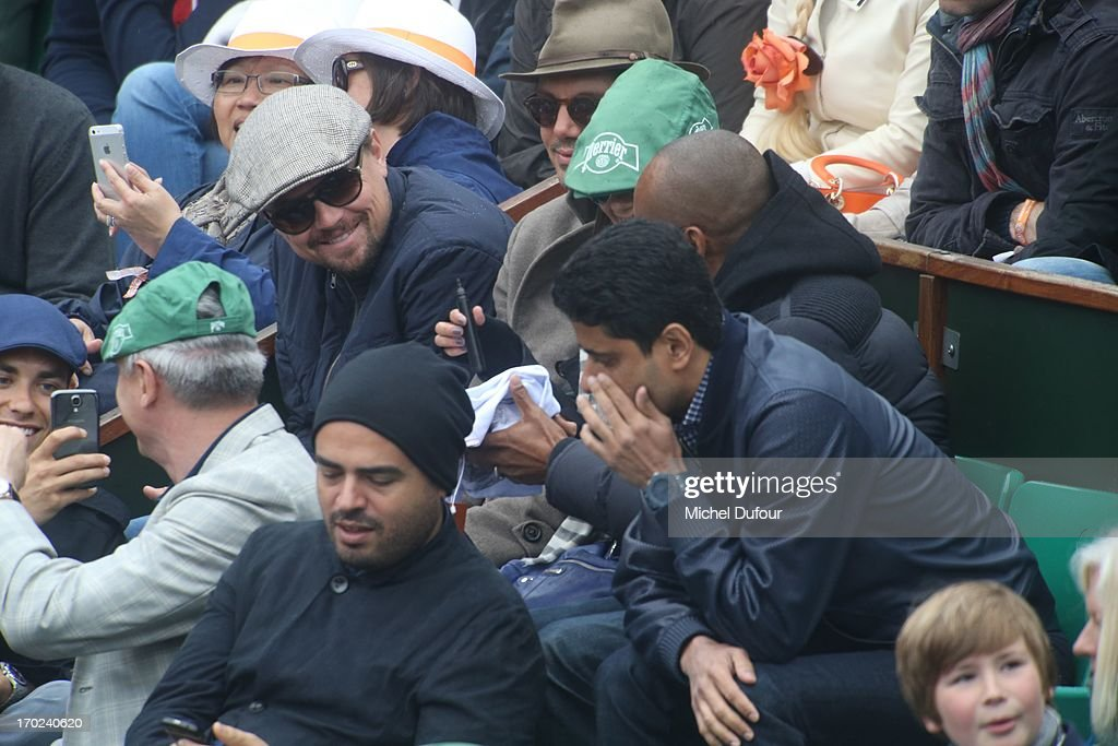 Leonardo Dicaprio and <a gi-track='captionPersonalityLinkClicked' href=/galleries/search?phrase=Lukas+Haas&family=editorial&specificpeople=239113 ng-click='$event.stopPropagation()'>Lukas Haas</a> seen as Celebrities At French Open 2013 - Day 15 at Roland Garros on June 9, 2013 in Paris, France.