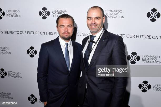 Leonardo DiCaprio and Milutin Gatsby attend the Leonardo DiCaprio Foundation 4th Annual SaintTropez Gala at Domaine Bertaud Belieu on July 26 2017 in...