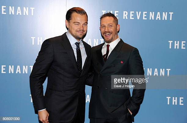 Leonardo DiCaprio and Tom Hardy attend UK Premiere of 'The Revenant' at Empire Leicester Square on January 14 2016 in London England