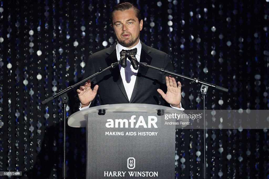 Leonardo DiCaprio appears on stage at the amfAR's 23rd Cinema Against AIDS Gala at Hotel du CapEdenRoc on May 19 2016 in Cap d'Antibes France