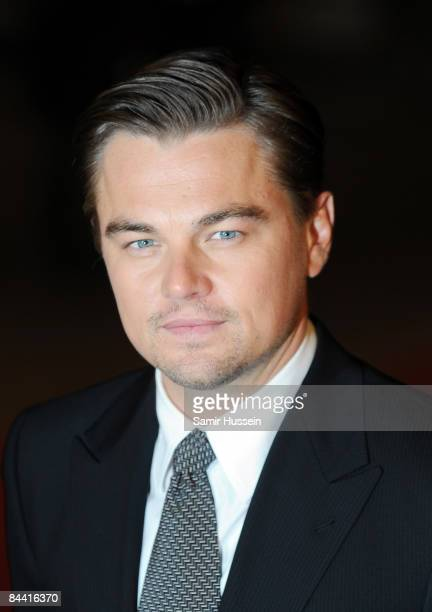 Leonardo DiCaprio arrives for the European Premiere of 'Revolutionary Road' at the Odeon Leicester Square on January 18 2009 in London England