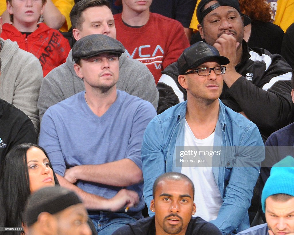 Leonardo DiCaprio attends a basketball game between the Miami Heat and the Los Angeles Lakers at Staples Center on January 17, 2013 in Los Angeles, California.