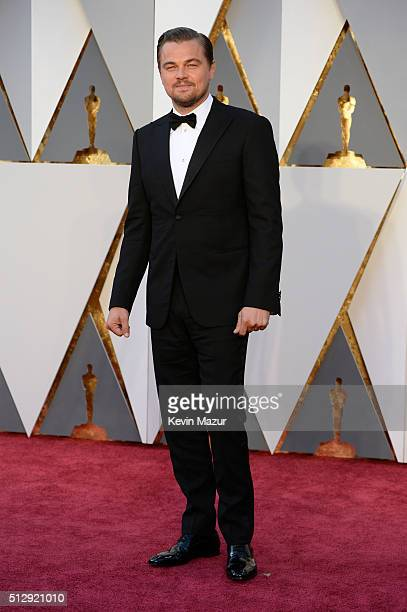 Leonardo DiCaprio attends the 88th Annual Academy Awards at Hollywood Highland Center on February 28 2016 in Hollywood California