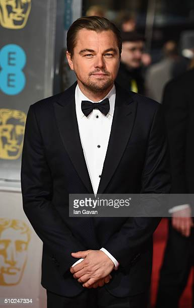 Leonardo DiCaprio attends the EE British Academy Film Awards at the Royal Opera House on February 14 2016 in London England