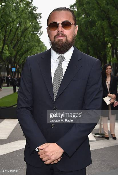 Leonardo DiCaprio attends the Giorgio Armani 40th Anniversary Silos Opening And Cocktail Reception on April 30 2015 in Milan Italy