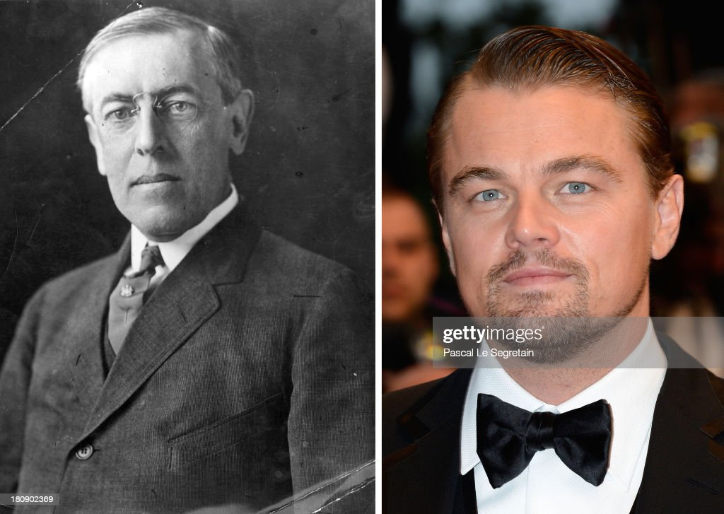 In this composite image a comparison has been made between Woodrow Wilson (L) and Leonardo DiCaprio. Leonardo DiCaprio will reportedly Woodrow Wilson in a film biopic entitled 'Wilson' CANNES, FRANCE - MAY 15: Leonardo DiCaprio attends the Opening Ceremony and 'The Great Gatsby' Premiere during the 66th Annual Cannes Film Festival at the Theatre Lumiere on May 15, 2013 in Cannes, France.