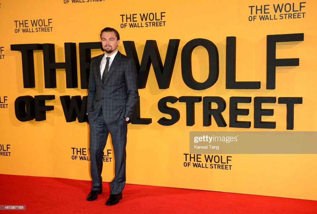 <a gi-track='captionPersonalityLinkClicked' href=/galleries/search?phrase=Leonardo+DiCaprio&family=editorial&specificpeople=201635 ng-click='$event.stopPropagation()'>Leonardo DiCaprio</a> attends the UK Premiere of 'The Wolf Of Wall Street' at the Odeon Leicester Square on January 9, 2014 in London, England.