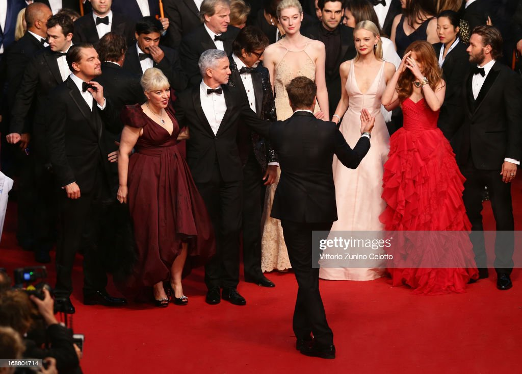 Leonardo DiCaprio, Catherine Martin, Baz Luhrmann, Amitabh Bachchan, Elizabeth Debicki, Carey Mulligan, Isla Fisher and Joel Edgerton attend the Opening Ceremony and 'The Great Gatsby' Premiere during the 66th Annual Cannes Film Festival at the Theatre Lumiere on May 15, 2013 in Cannes, France.