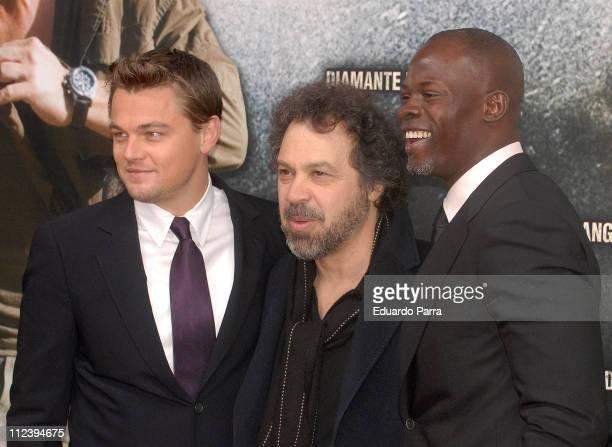 Leonardo DiCaprio Edward Zwick and Djimon Hounsou