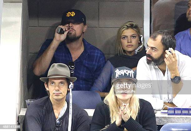 Leonardo DiCaprio Kelly Rohrbach and Lukas attend the Men's Final on day fourteen of the 2015 US Open at USTA Billie Jean King National Tennis Center...