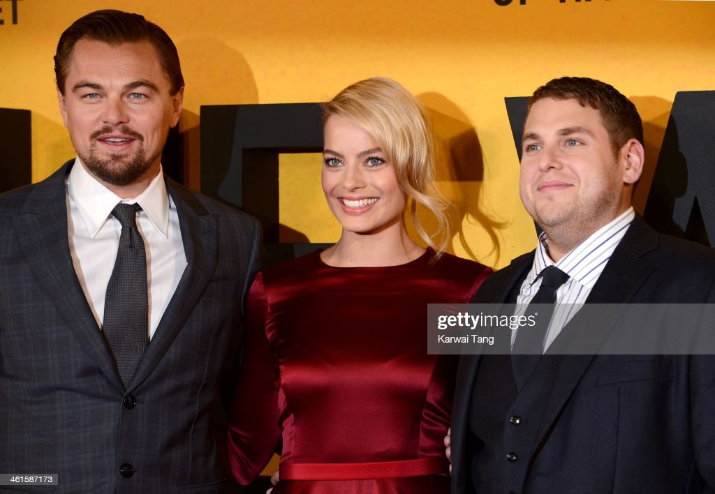 <a gi-track='captionPersonalityLinkClicked' href=/galleries/search?phrase=Leonardo+DiCaprio&family=editorial&specificpeople=201635 ng-click='$event.stopPropagation()'>Leonardo DiCaprio</a>, <a gi-track='captionPersonalityLinkClicked' href=/galleries/search?phrase=Margot+Robbie&family=editorial&specificpeople=5781742 ng-click='$event.stopPropagation()'>Margot Robbie</a> and <a gi-track='captionPersonalityLinkClicked' href=/galleries/search?phrase=Jonah+Hill&family=editorial&specificpeople=544481 ng-click='$event.stopPropagation()'>Jonah Hill</a> attend the UK Premiere of 'The Wolf Of Wall Street' at the Odeon Leicester Square on January 9, 2014 in London, England.