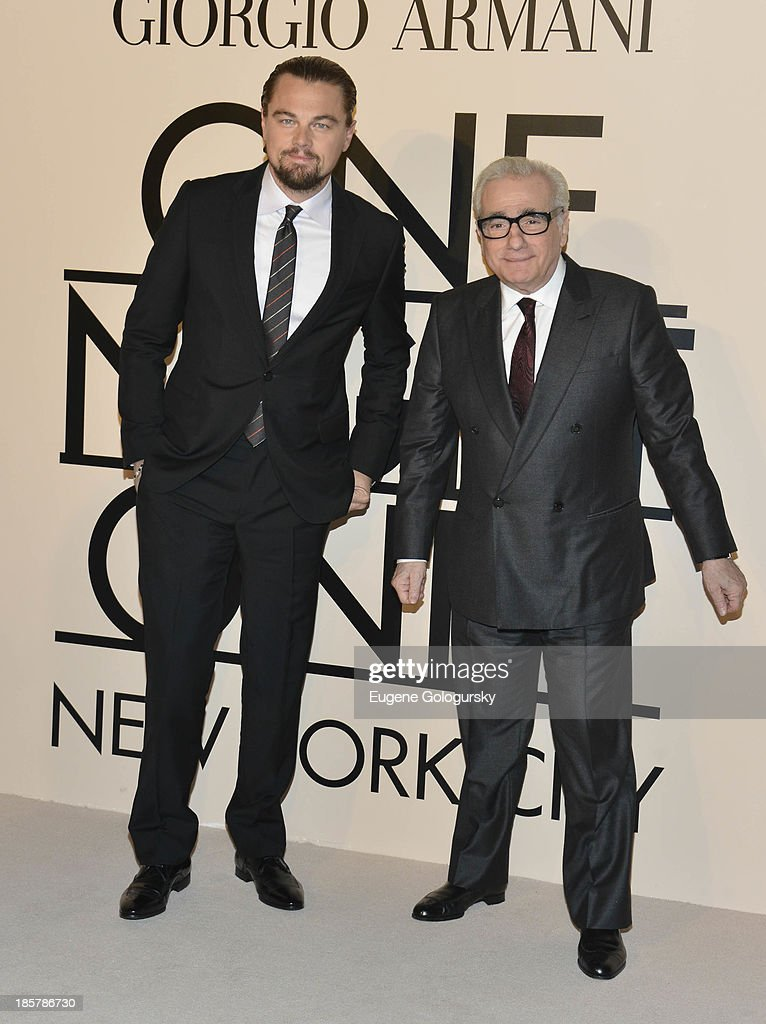 Leonardo DiCaprio, Martin Scorsese attend Armani - One Night Only New York at SuperPier on October 24, 2013 in New York City.