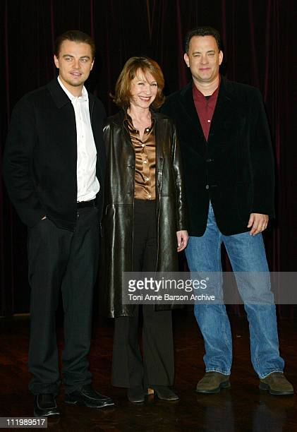 Leonardo DiCaprio Nathalie Baye and Tom Hanks during 'Catch Me If You Can' Photocall Paris at L'Elysee Biarritz Theater in Paris France