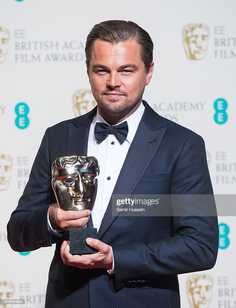 <a gi-track='captionPersonalityLinkClicked' href=/galleries/search?phrase=Leonardo+DiCaprio&family=editorial&specificpeople=201635 ng-click='$event.stopPropagation()'>Leonardo DiCaprio</a> poses in the winners room at the EE British Academy Film Awards at The Royal Opera House on February 14, 2016 in London, England.