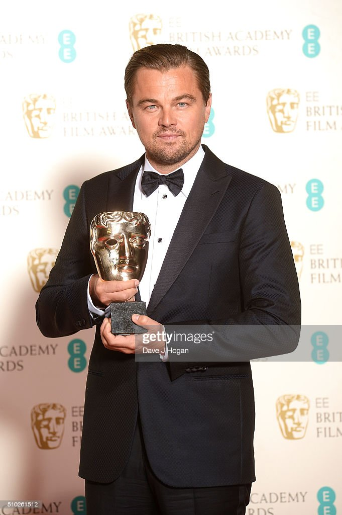 <a gi-track='captionPersonalityLinkClicked' href=/galleries/search?phrase=Leonardo+DiCaprio&family=editorial&specificpeople=201635 ng-click='$event.stopPropagation()'>Leonardo DiCaprio</a> poses with the award for Lead Actor in the winners room at the EE British Academy Film Awards at The Royal Opera House on February 14, 2016 in London, England.
