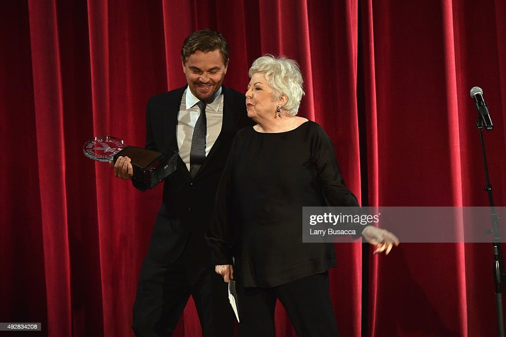 Leonardo DiCaprio presents award to honoree, Editor Thelma Schoonmaker onstage at the DGA Honors 2015 Gala on October 15, 2015 in New York City.