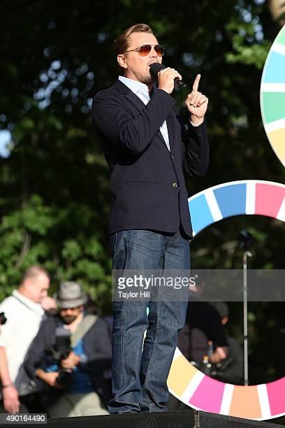 Leonardo DiCaprio speaks during the 2015 Global Citizen Festival at Central Park on September 26 2015 in New York City