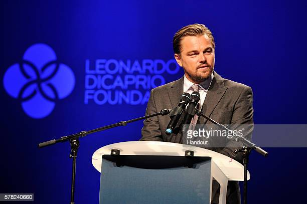 Leonardo DiCaprio speaks on stage at the Dinner Auction during The Leonardo DiCaprio Foundation 3rd Annual SaintTropez Gala at Domaine Bertaud Belieu...