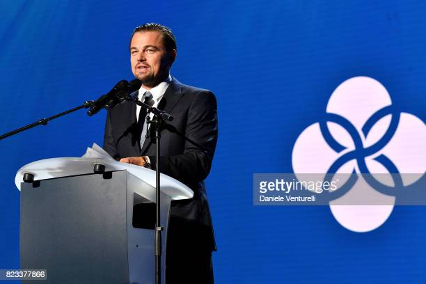 Leonardo DiCaprio speaks on stage the Leonardo DiCaprio Foundation 4th Annual SaintTropez Gala at Domaine Bertaud Belieu on July 26 2017 in...