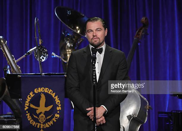 Leonardo DiCaprio speaks onstage at the Friars Club Honoring Martin Scorsese With the Entertainment Icon Award at Cipriani Wall Street on September...
