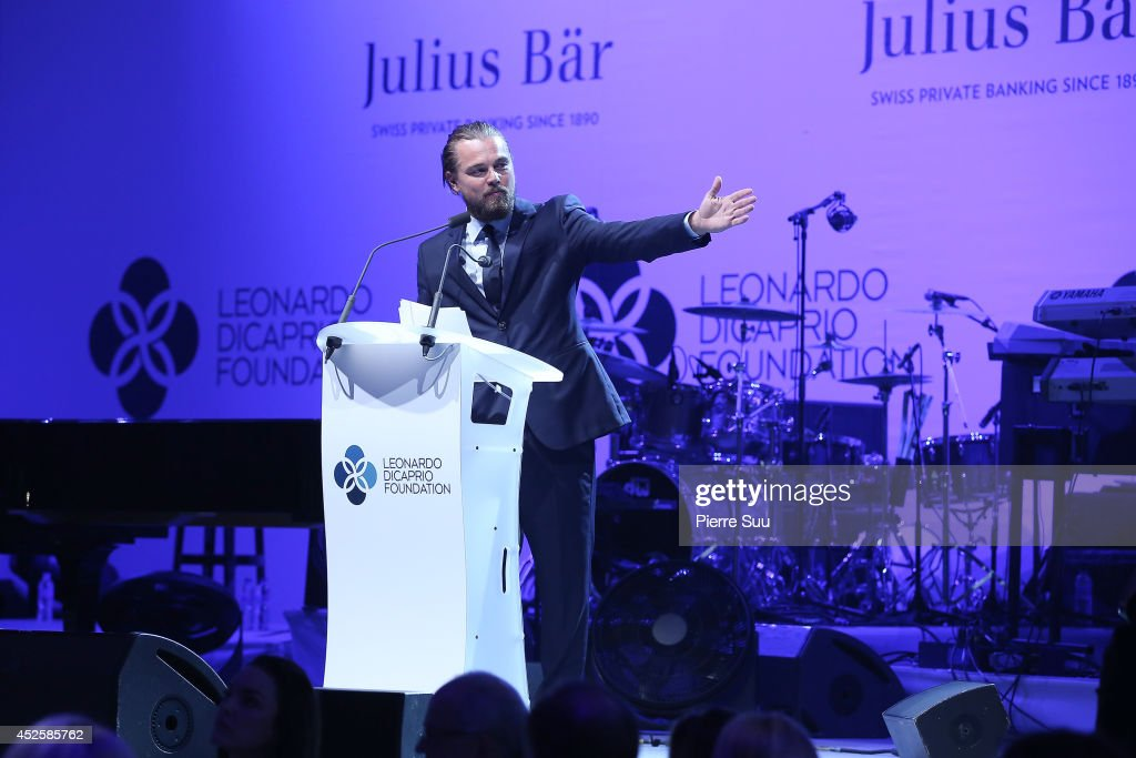 Leonardo Dicaprio speaks onstage during the Leonardo Dicaprio Foundation Inaugurational Gala at Domaine Bertaud Belieu on July 23, 2014 in Saint-Tropez, France.