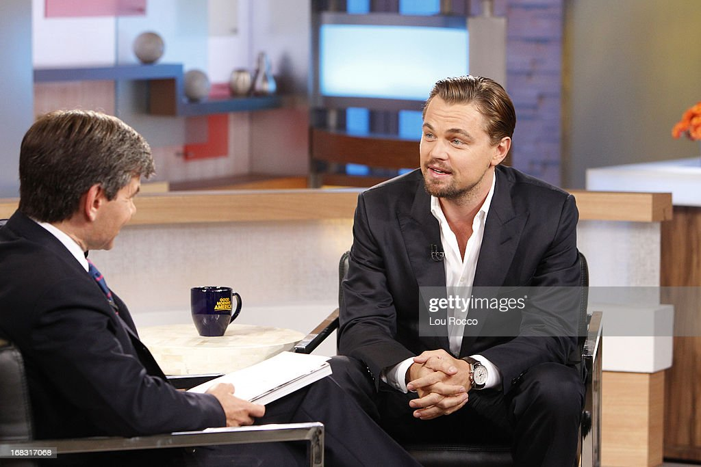AMERICA - Leonardo DiCaprio talks about the new film, 'The Great Gatsby,' on 'Good Morning America,' 5/8/13, airing on the ABC Television Network. (Photo by Lou Rocco/ABC via Getty Images) GEORGE STEPHANOPOULOS, LEONARDO DICAPRIO