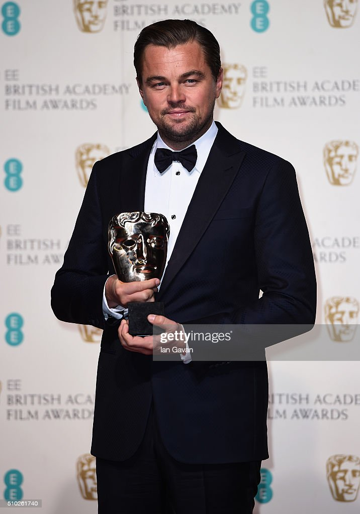 Leonardo Dicaprio, winner of Best Actor for 'The Revenant' poses in the winners room at the EE British Academy Film Awards at the Royal Opera House on February 14, 2016 in London, England.