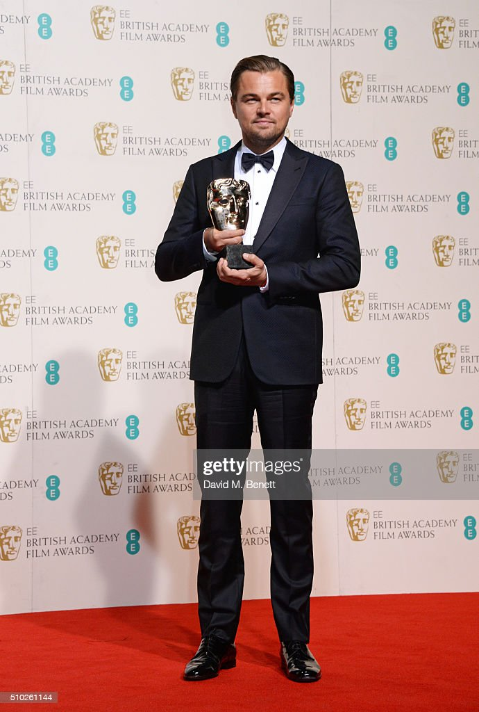 Leonardo DiCaprio, winner of the Best Actor award for 'The Revenant', poses in the winners room at the EE British Academy Film Awards at The Royal Opera House on February 14, 2016 in London, England.