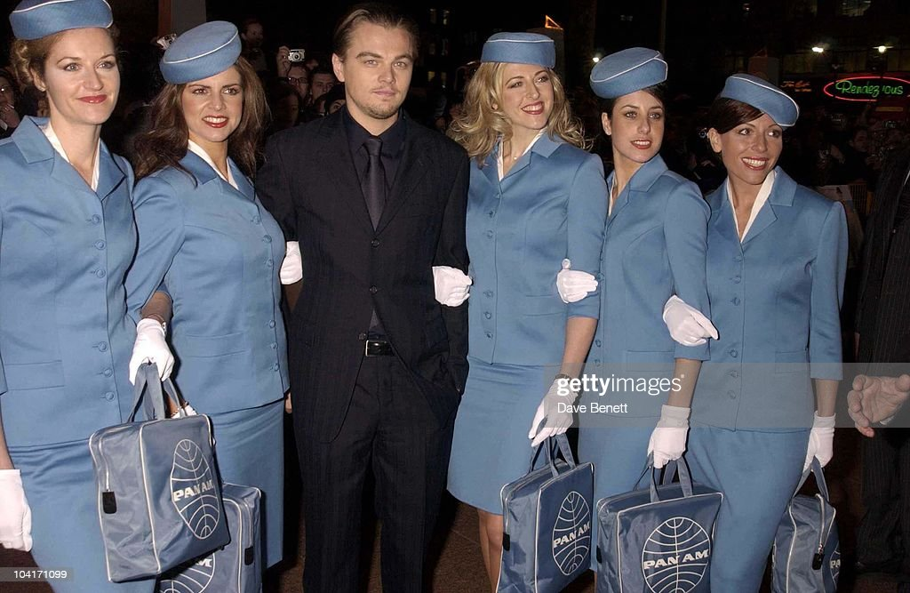 Leonardo Dicaprio With Female Flight Attendants, 'Catch Me If You Can' Movie Premiere Held At The Empire Cinema In Leicester Square, London.