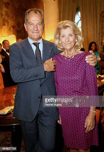 Leonardo Ferragamo and Giovanna Gentile Ferragamo attend a cocktail reception held at Palazzo Spini Feroni built in the 13th Century and home to the...