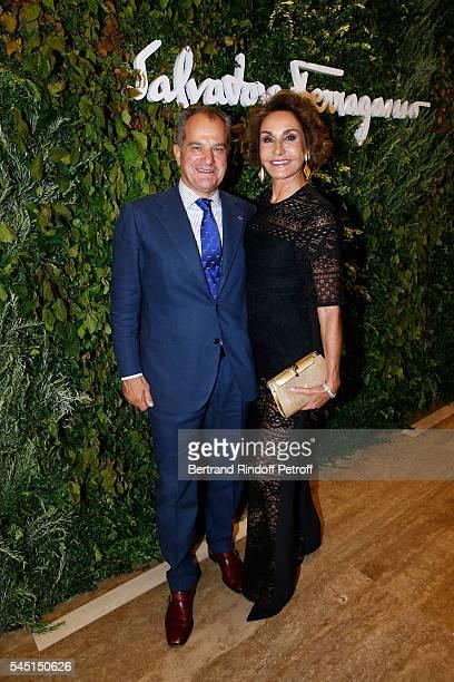 Leonardo Ferragamo and Naty Abascal attend the Re Opening of Salvatore Ferragamo Boutique at Avenue Montaigne on July 5 2016 in Paris France