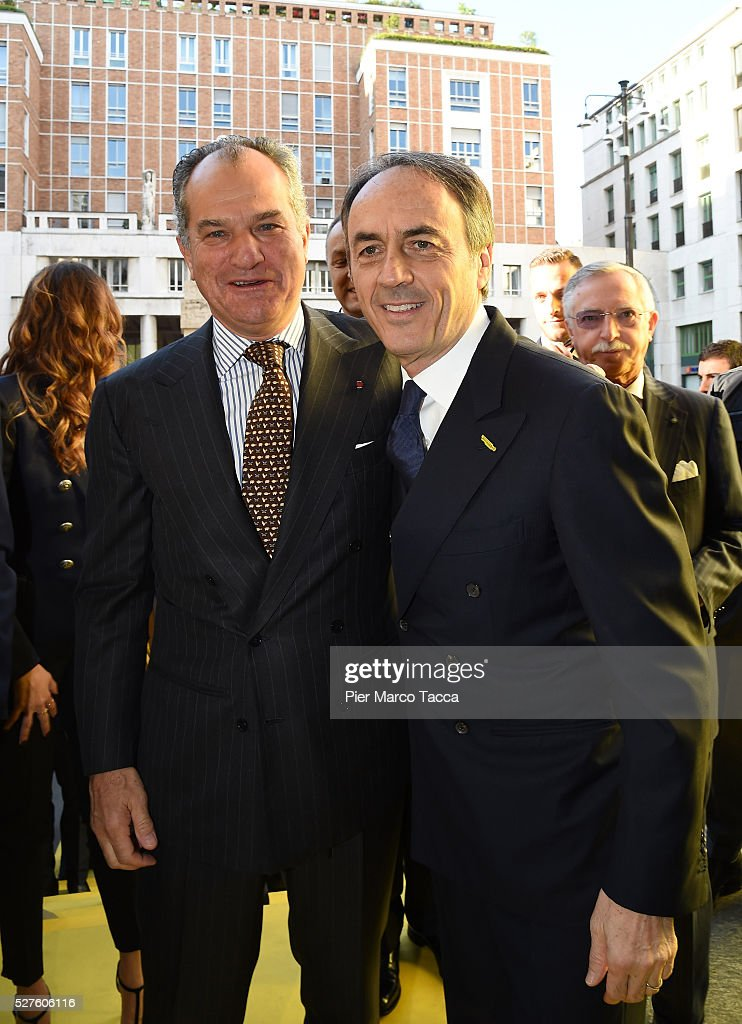 Leonardo Ferragamo and <a gi-track='captionPersonalityLinkClicked' href=/galleries/search?phrase=Nerio+Alessandri&family=editorial&specificpeople=4607198 ng-click='$event.stopPropagation()'>Nerio Alessandri</a> attend the Technogym Listing Ceremony at Palazzo Mezzanotte on May 3, 2016 in Milan, Italy. Technogym is the world leader in the construction of equipment for gyms, founded in 1983 by <a gi-track='captionPersonalityLinkClicked' href=/galleries/search?phrase=Nerio+Alessandri&family=editorial&specificpeople=4607198 ng-click='$event.stopPropagation()'>Nerio Alessandri</a>, and was listed today on the Milan Stock Exchange.