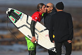 Leonardo Fioravanti of Italy congratulated by his father at the end of heat 10 of round 3 of the Men's Ericeira World Junior Championships 2016 of...