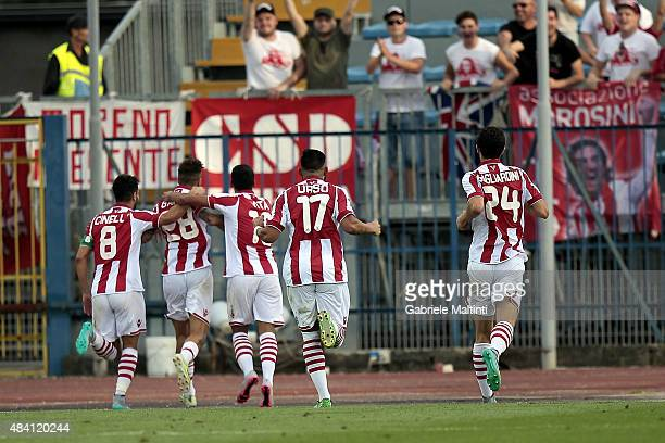 Leonardo Gatto of Vicenza Calcio celebrates after scoring a goal during the TIM Cup match between Empoli FC and Vicenza Calcio at Stadio Carlo...